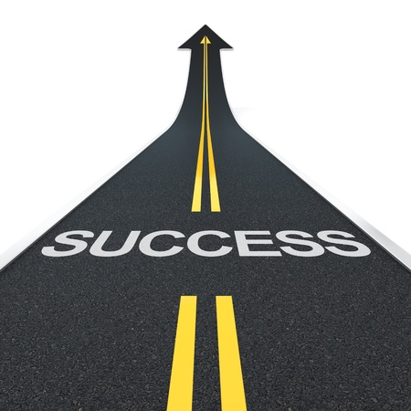 3D render of arrow road with success letters photo