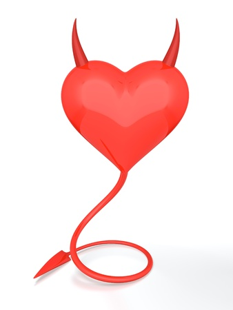 3D render of red devil heart on white background photo