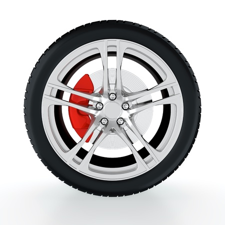 3D render of car wheel on white background Stock Photo - 14095436