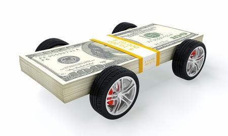 power of money: 3D render of money car on white background