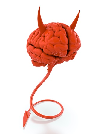 3D render of red devil brain on white background photo
