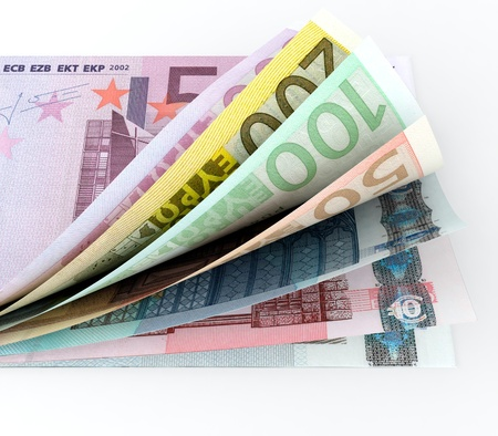 european exchange: 3D render of European currency on white background Stock Photo