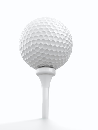 3d render of golf ball on white background photo