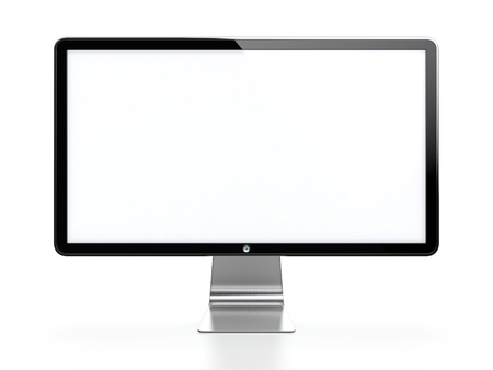 Computer monitor with white blank screen isolated on white background Stock Photo - 14095374