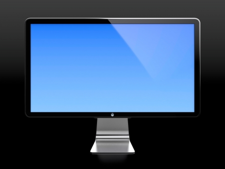 Computer monitor with blue screen isolated on black background Stock Photo - 14095381