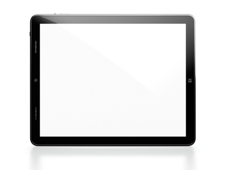Tablet computer with white blank screen isolated on white background