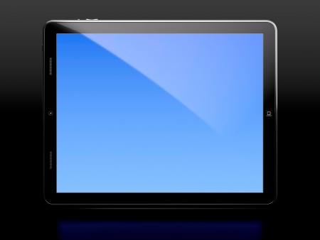 Tablet computer with blue screen isolated on black background photo