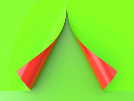 3D render of half red and half green curled paper Stock Photo - 14095390