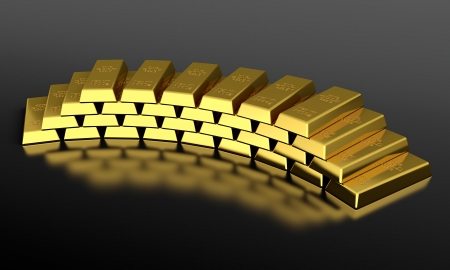 3d render of gold ingots pyramid on black background photo