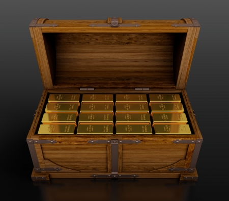 Treasure chest full of gold bars on black background photo