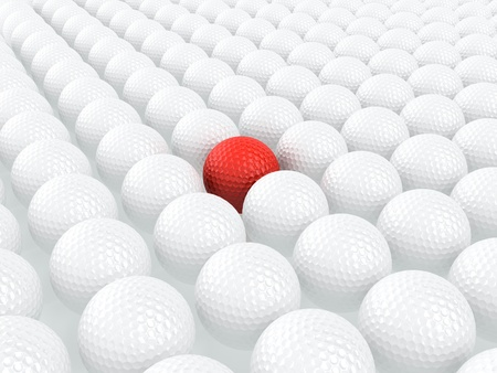 3d render of red golf ball among white balls photo