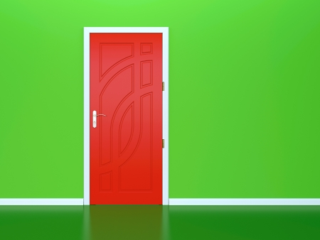 puerta verde: 3D hacen de la puerta roja en la pared verde Foto de archivo