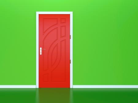 fermer la porte: Rendu 3D de la porte rouge dans le mur vert
