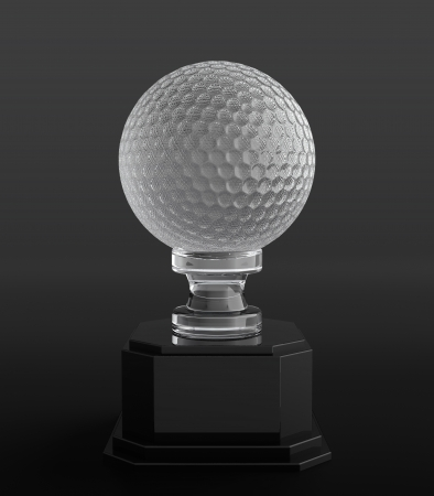 3d render of crystal golf ball trophy on black background photo