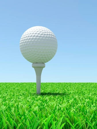 3d render of golf ball on green lawn photo