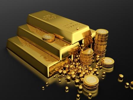 lingotto: Render 3d della piramide oro in lingotti su sfondo nero