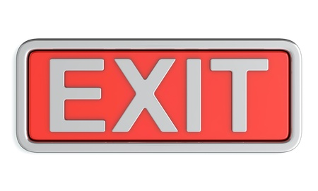 3d render of red exit sign on white background photo