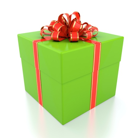 3D illustration of green gift box with red ribbon illustration