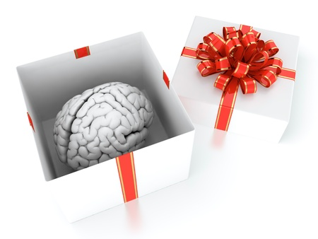 3D illustration of brain present in white gift box with red ribbon illustration