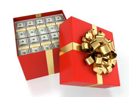 money box: 3D illustration of gift box full of dollar bills Stock Photo