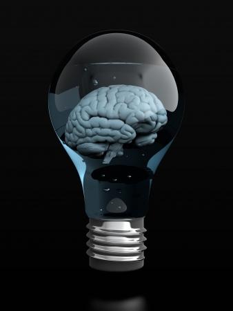3D render of brain in light bulb on black background photo