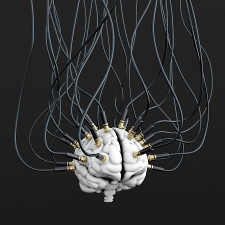 3D illustration of cables connected to brain. Mind control concept illustration