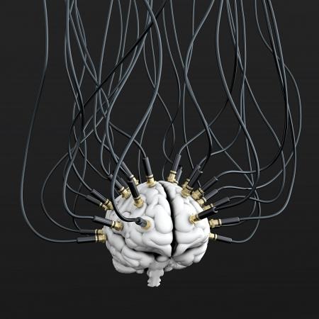 cellule nervose: 3D illustrazione di cavi collegati al cervello. Concetto di controllo mentale Archivio Fotografico