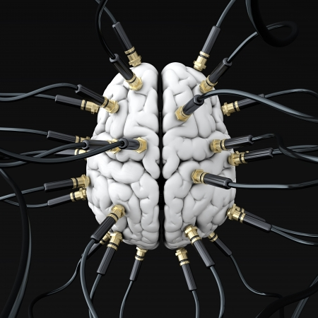 3D illustration of cables connected to brain. Mind control concept