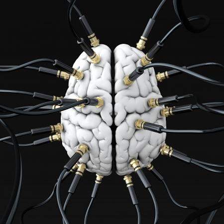 mente: Ilustraci�n 3D de cables conectados al cerebro. Mente concepto de control