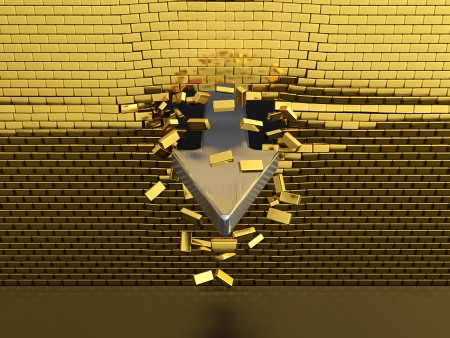 Silver arrow breaking through the golden brick wall photo
