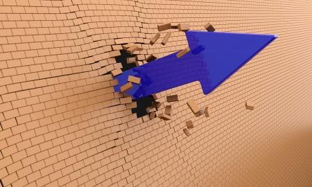 Blue arrow breaking through the brick wall photo