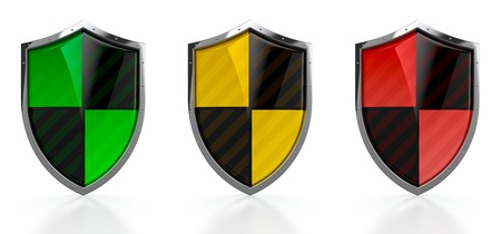 3D render of green orange and red protection shields on white background photo