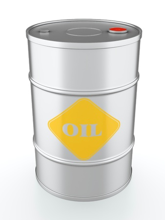 3D illustration of metal oil barrel isolated on white background illustration