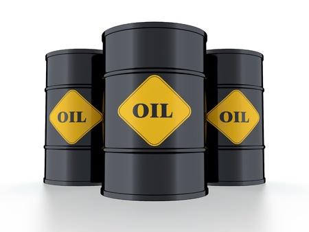 high price of oil: 3D illustration of black oil barrel isolated on black background