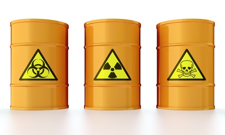 toxic barrels: 3D illustration of industrial barrels with toxic waste Stock Photo