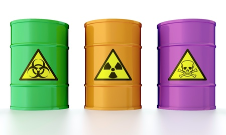 3D illustration of industrial barrels with toxic waste illustration