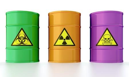 Ilustración 3D de barriles industriales con residuos tóxicos