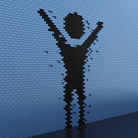 3D illustration human shaped hole in the blue brick wall illustration