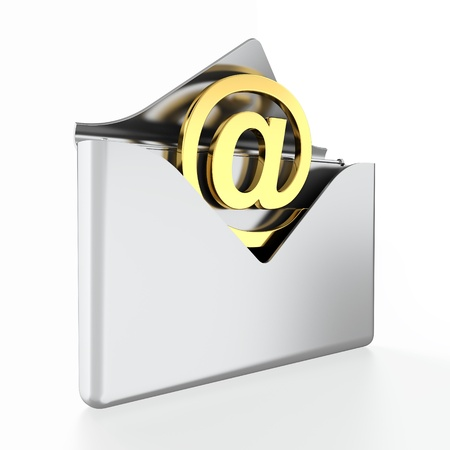 sender: 3D illustration of metal e-mail envelope on white background