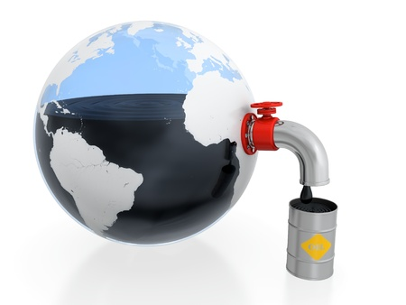 environment damage: 3D illustration of oil extraction from Earth in form of glass container Stock Photo