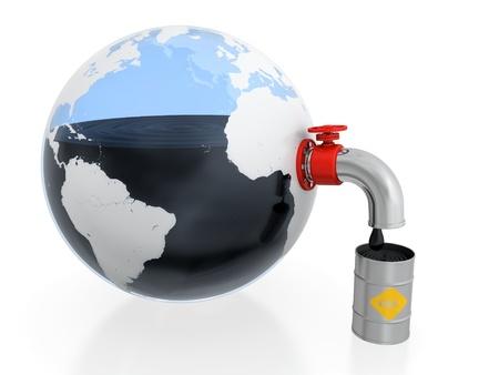 petrochemistry: 3D ilustraci�n de la extracci�n de petr�leo de la Tierra en forma de recipiente de vidrio