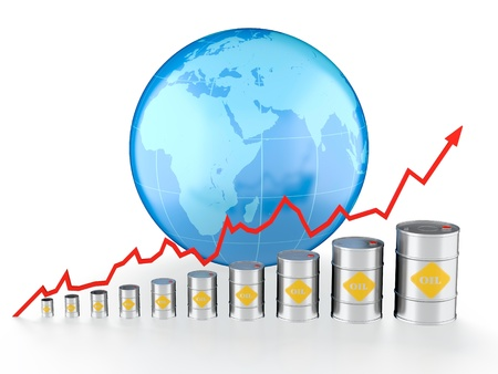 high price of oil: 3D illustration of growing oil chart with Earth on background