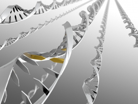 3D illustration of metal DNA strands on gradient background illustration