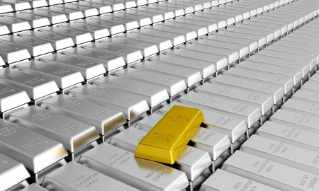 3d render of platinum ingots with one gold ingot Stock Photo - 14487213