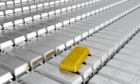 3d render of platinum ingots with one gold ingot Stock Photo - 14487213