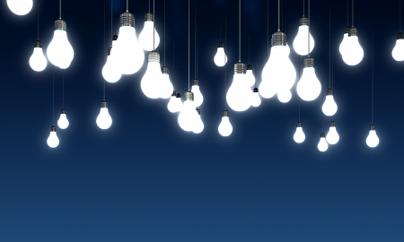 lightbulb idea: Hanging glowing light bulbs on blue background
