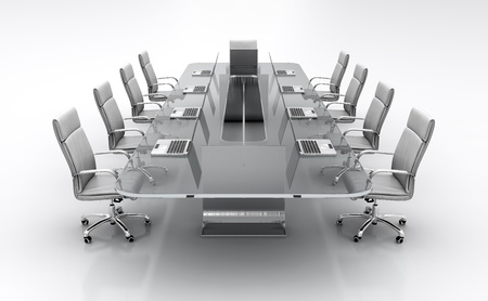 3D render of conference table from glass with white leather chairs. Stock Photo