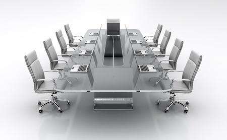 3D render van vergadertafel van glas met witte lederen stoelen.