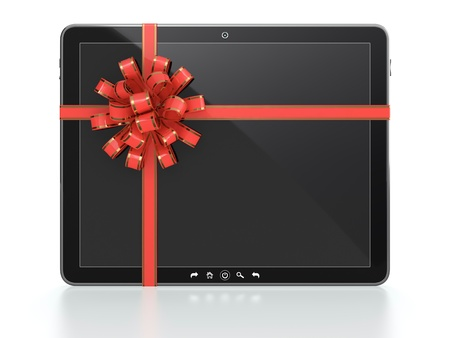 3D illustration of computer tablet gift with blank screen and red ribbon on white background Stock Illustration - 14517183
