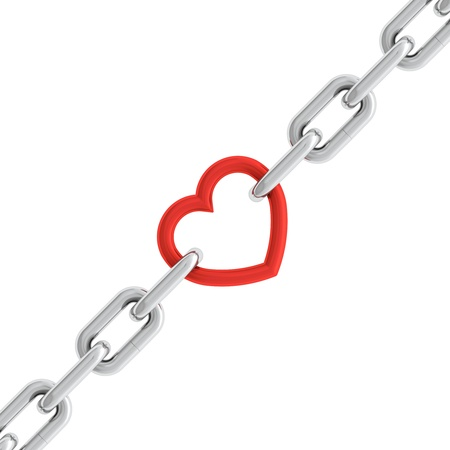 link love: 3d illustration of chain with red heart element isolated on white background Stock Photo